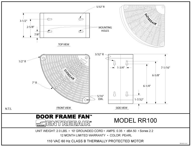 door way frame fan entree air diagrams - Door Frame Fan